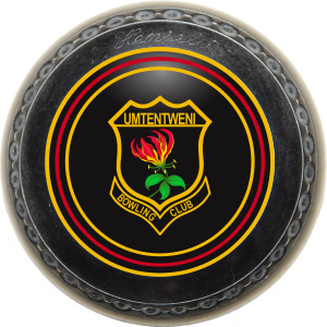 A rolling lawn ball with the Umtentweni Bowling Club's logo in the center of the ball