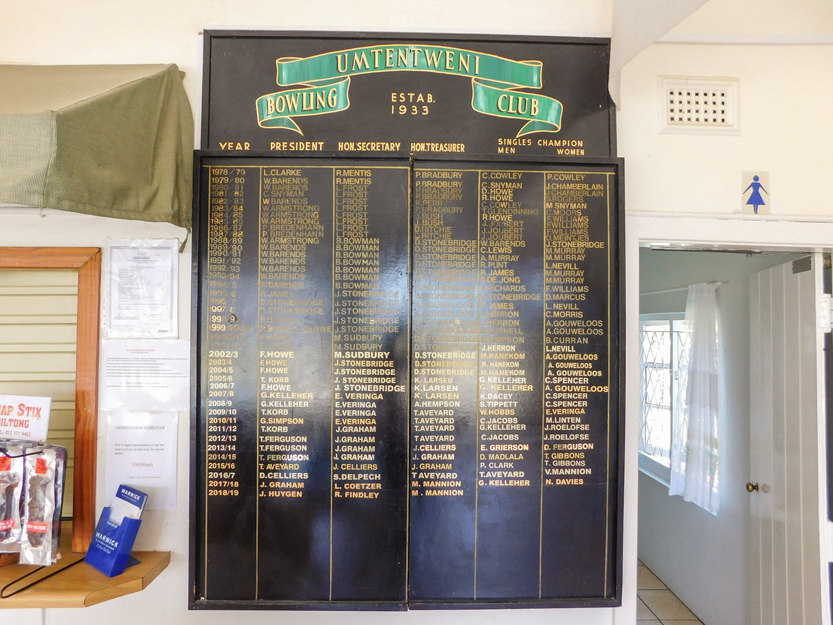 Wall mounted board listing current and past club office bearers